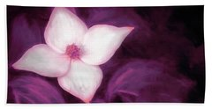 Single Dogwood Flower Purple Beach Towel