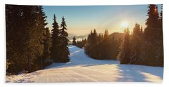 Ski Slope Without Skiers Beach Towel