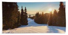 Ski Slope Without Skiers Beach Sheet