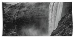 Beach Towel featuring the photograph Skogafoss Iceland Black And White by Nathan Bush