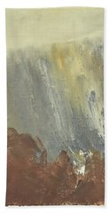 Skogklaedd Fjaellvaegg I Hoestdimma- Mountain Side In Autumn Mist, Saelen _1237, Up To 90x120 Cm Beach Towel