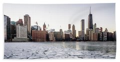 Skyline And Cracks In The Water Beach Towel