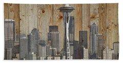 Skyline Of Seattle, Usa On Wood Beach Towel