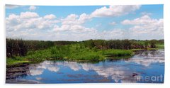Skyscape Reflections Blue Cypress Marsh Near Vero Beach Florida C6 Beach Towel
