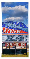 Skyview Drive-in Theater Neon Sign Beach Towel