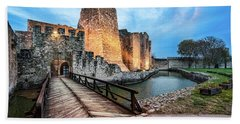 Beach Towel featuring the photograph Smederevo Fortress Gate And Bridge by Milan Ljubisavljevic