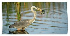 Snack Time For Blue Heron Beach Towel