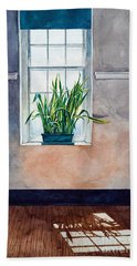 Snake Plant On Window Sill In Painting Beach Sheet