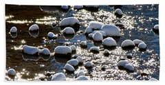 Snow Covered Rocks Beach Towel