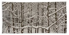 Snow Covered Trees Beach Towel