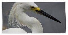 Snow Egret Portrait Beach Towel