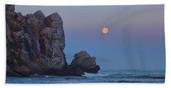 Snow Moon And Morro Rock Beach Towel