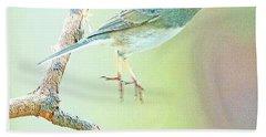 Snowbird Jumps From Tree Branch Beach Towel