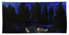 Snowmen Enjoy The Campfire  Beach Towel