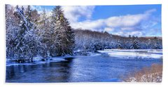 Beach Towel featuring the photograph Snowy Banks Of The Moose River by David Patterson