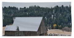Snowy Barn Yellow Tree Beach Towel