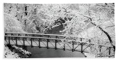 Snowy Bridge On Mill Creek Beach Towel