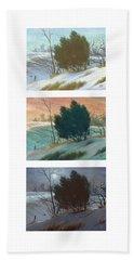 Snowy Day Triptych, Vertical Beach Towel