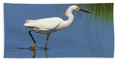 Beach Towel featuring the photograph Snowy Egret by Debbie Stahre
