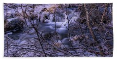 Snowy Forest With Long Exposure Beach Towel