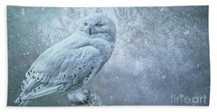 Snowy Owl In Winter Beach Towel