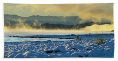 Snowy Shoreline Sunrise Beach Towel