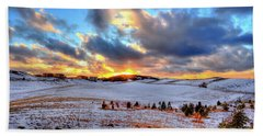 Beach Towel featuring the photograph Snowy Sunset by David Patterson