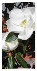 Snowy White Gardenia Blossoms Beach Sheet