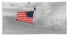 Socom Flag Jump In Selective Color Beach Towel