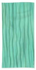 Soft Green Lines Beach Towel