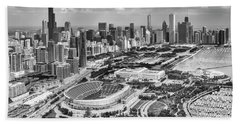 Beach Towel featuring the photograph Soldier Field And Chicago Skyline Black And White by Adam Romanowicz