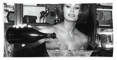 Sophia Loren, Coupe Champagne Glasses Beach Towel