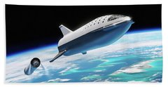 Beach Sheet featuring the digital art Spacex Bfr Big Falcon Rocket With Earth by Pic by SpaceX Edit by M Hauser