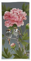 Sparrows And Peony Beach Towel