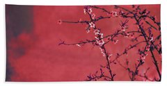Spring Blossom Border Over Red Arty Textured Background. Chinese Beach Sheet
