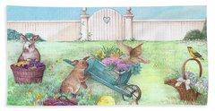 Spring Bunnies, Chick, Birds Beach Sheet