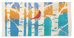 Spring Cardinal In Middle Birch Tree Beach Towel