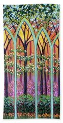 Beach Towel featuring the painting Spring Cathedral by Jeanette Jarmon