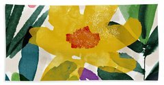 Spring Garden Yellow- Floral Art By Linda Woods Beach Towel