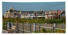 Beach Towel featuring the photograph Spring Lake Boardwalk View by Kristia Adams