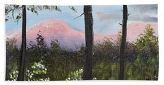 Beach Towel featuring the painting Springtime At Pink Knob In Ellijay by Jan Dappen