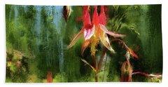 Spruce Forest Columbine Flower Beach Towel