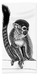 Squirrel Monkey - Ink Illustration Beach Towel