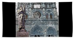 St Joan Of Arc Watch Over Notre Dame Beach Towel