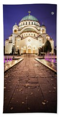 Beach Towel featuring the photograph St. Sava Temple In Belgrade Nightscape by Milan Ljubisavljevic