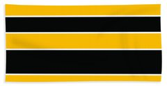 Stacked - Black And Yellow Beach Towel