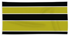 Stacked - Gold, Black And White Beach Towel