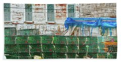 Stacked Lobster Traps Beach Towel