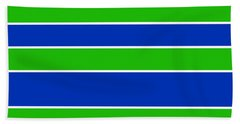 Stacked - Navy, White, And Lime Green Beach Towel