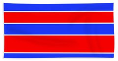 Stacked - Red, White And Blue Beach Towel